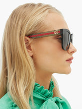 Load image into Gallery viewer, Gucci 0034S Square Glitter Striped Leg Sunglasses