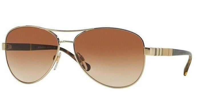 Burberry BE3080 Checked Logo Leg Aviator Sunglasses