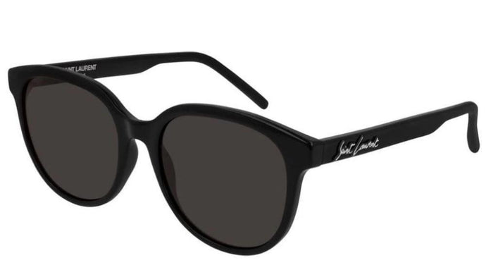 Saint Laurent SL317 Round Script Logo Sunglasses in Black