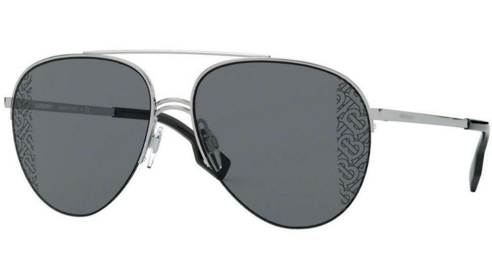 Burberry BE3113 Silver Corner Logo Lens Aviator Sunglasses