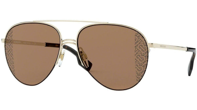 Burberry BE3113 Gold Corner Logo Lens Aviator Sunglasses
