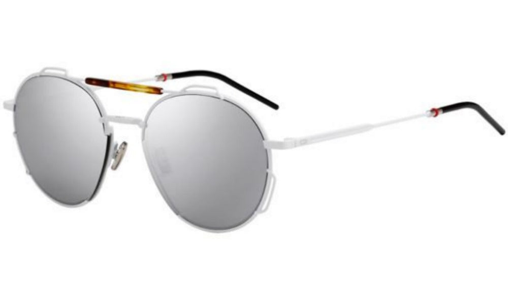 Dior Homme 0234 Round Sunglasses in White/Silver Mirrored