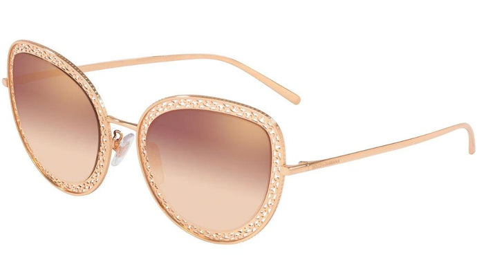 Dolce Gabbana 2226 Rose Gold Mirrored Cat Eye Sunglasses