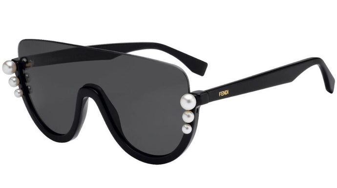 Fendi 0296 Ribbons and Pearls Shield Sunglasses in Black