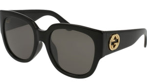 Gucci 0142SA Rounded Square Black Logo Sunglasses