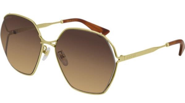 Gucci GG0818SA Rounded Metal Cutout Sunglasses in Brown Lens