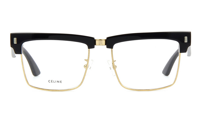 Celine CL50013U Unisex Black Gold Metal Eyeglasses Frames