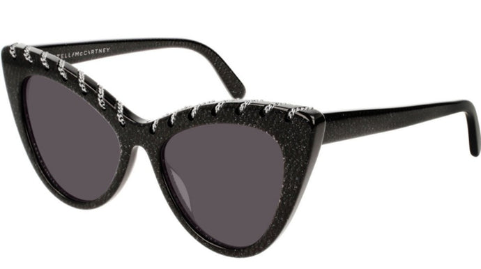 Stella McCartney SC0163S Falabella Cat Eye Chain Sunglasses in Black Glitter