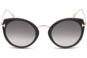 Tom Ford Jess Rimless Round Sunglasses in Black