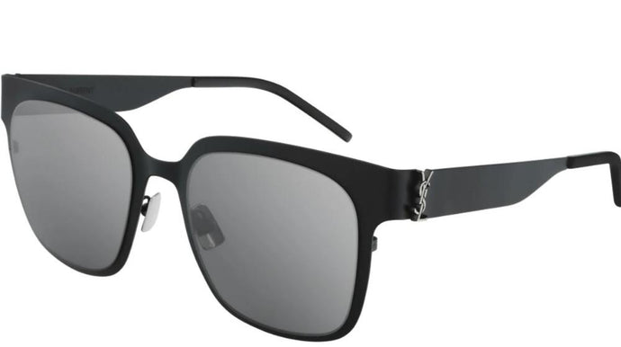 Saint Laurent SLM41 002 Square Metal Sunglasses in Black Mirrored