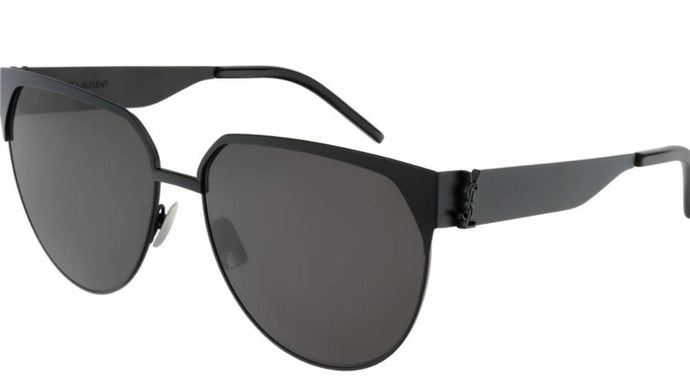 Saint Laurent SLM43 001 Rounded Square Metal Sunglasses in Black