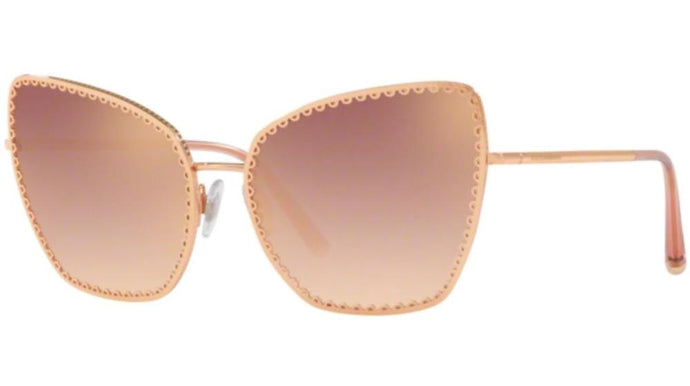 Dolce Gabbana 2212 Rose Gold Mirrored Cat Eye Sunglasses
