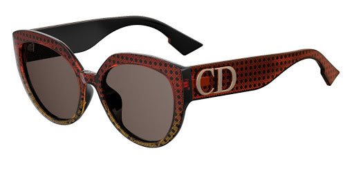 Dior DDiorF Rounded Cat Eye Logo Leg Sunglasses in Brown Cannage