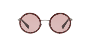 Valentino 2010 Bordeaux Crystal Studded Round Sunglasses