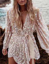 Load image into Gallery viewer, Glitter Plunge Sequins Mesh Dress