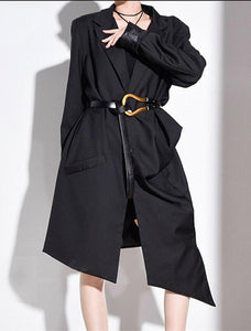 EAM Long Pleated Trench Dress