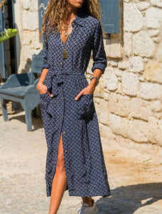 Long Stripe V-neck Shirt Boho Beach Dress