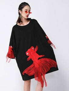 O Collar Fish Embroidery Dress