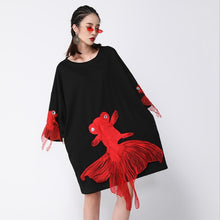 Load image into Gallery viewer, O Collar Fish Embroidery Dress