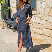 Load image into Gallery viewer, Long Stripe V-neck Shirt Boho Beach Dress