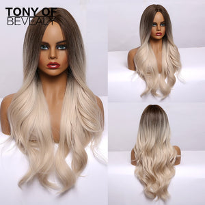 TONY Wavy Brown to Light Blonde Wig