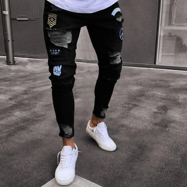 Ripped Embroidered Jeans (3 colors)