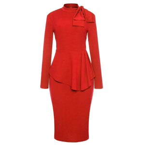 Red High Neck Bow Peplum Pencil Dress