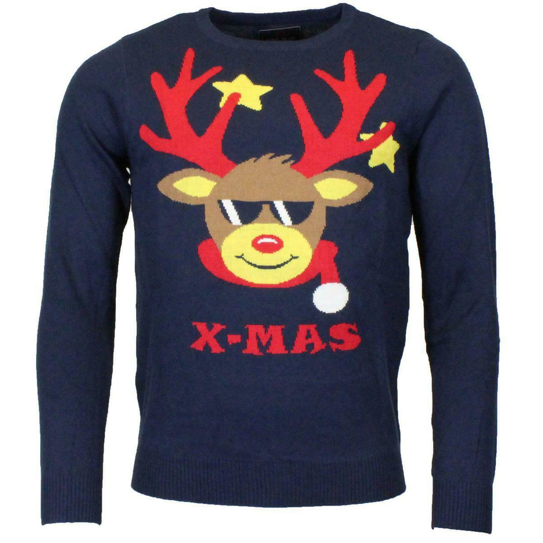 Unisex Xmas Christmas Reindeer Jumper Knitted Sweater