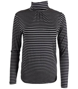 Black & Grey Striped Long sleeve Turtle Polo Neck Top