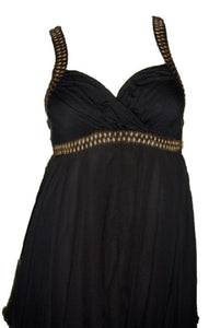 Black Chiffon Sleeveless Mini Dress+Belt