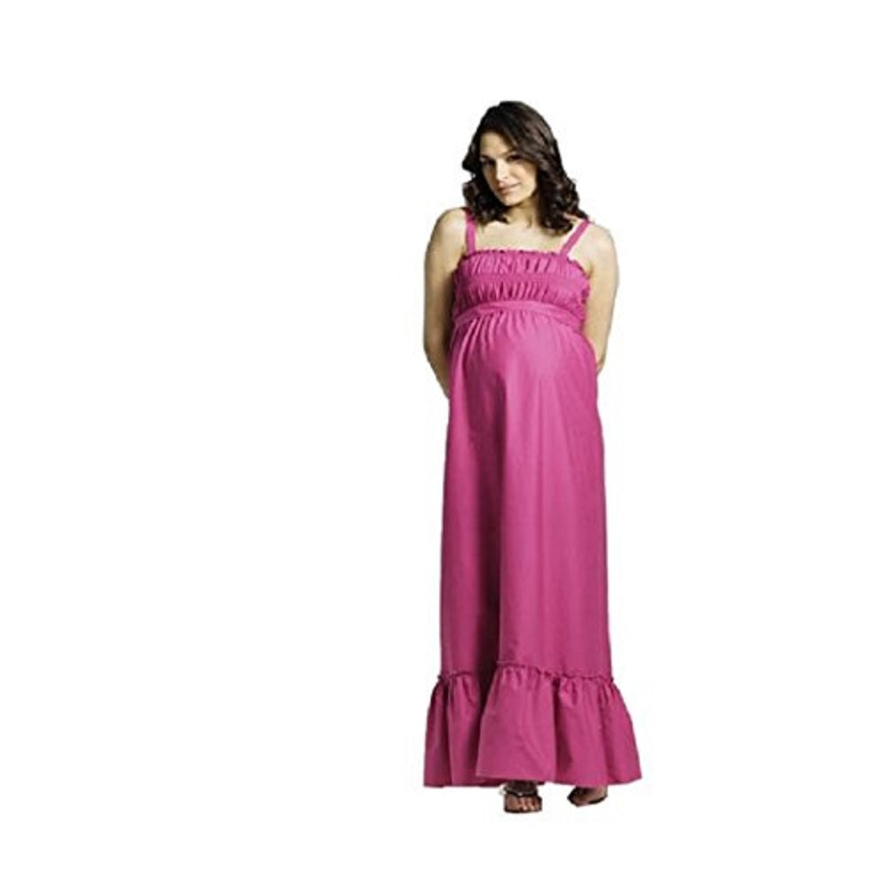 Pink Strappy Gathered Elasticated Cotton Maxi Maternity Dress