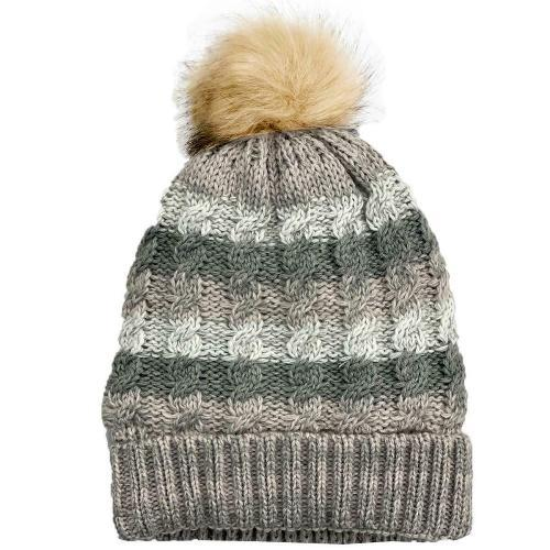 Womens Waterproof Cable Knit Beanie Hat - LA317