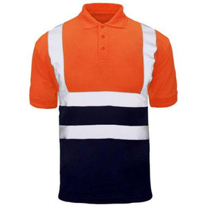Mens Hi Visibiity Polo Short Sleeve Reflective 2 Tone Shirt Safety Work Top