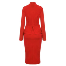 Load image into Gallery viewer, Red High Neck Bow Peplum Pencil Dress