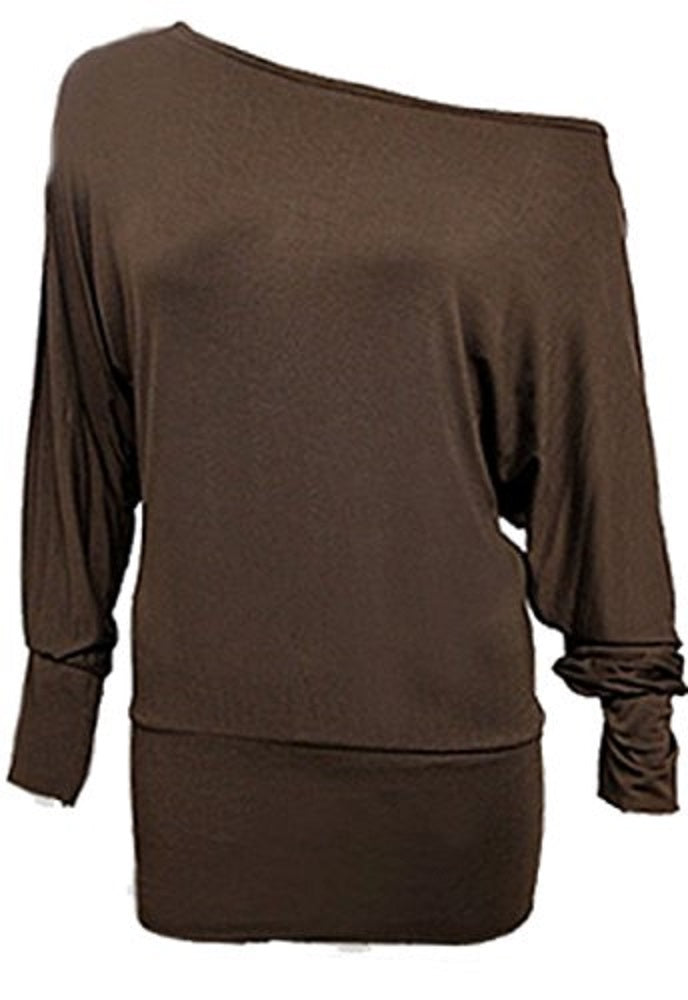 Brown Batwing Jersey Baggy Stretchy Top