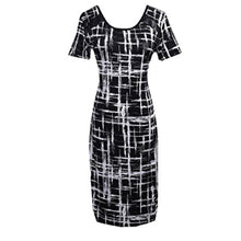 Load image into Gallery viewer, Black & White Bodycon Shortsleeve Midi Dress