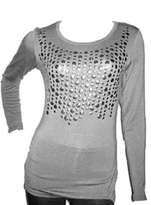 Grey Front Embellished Long sleeve Tunic Top