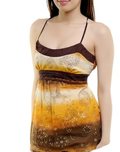 Load image into Gallery viewer, Orange Multi Strappy Floral Print Strappy Vest Top