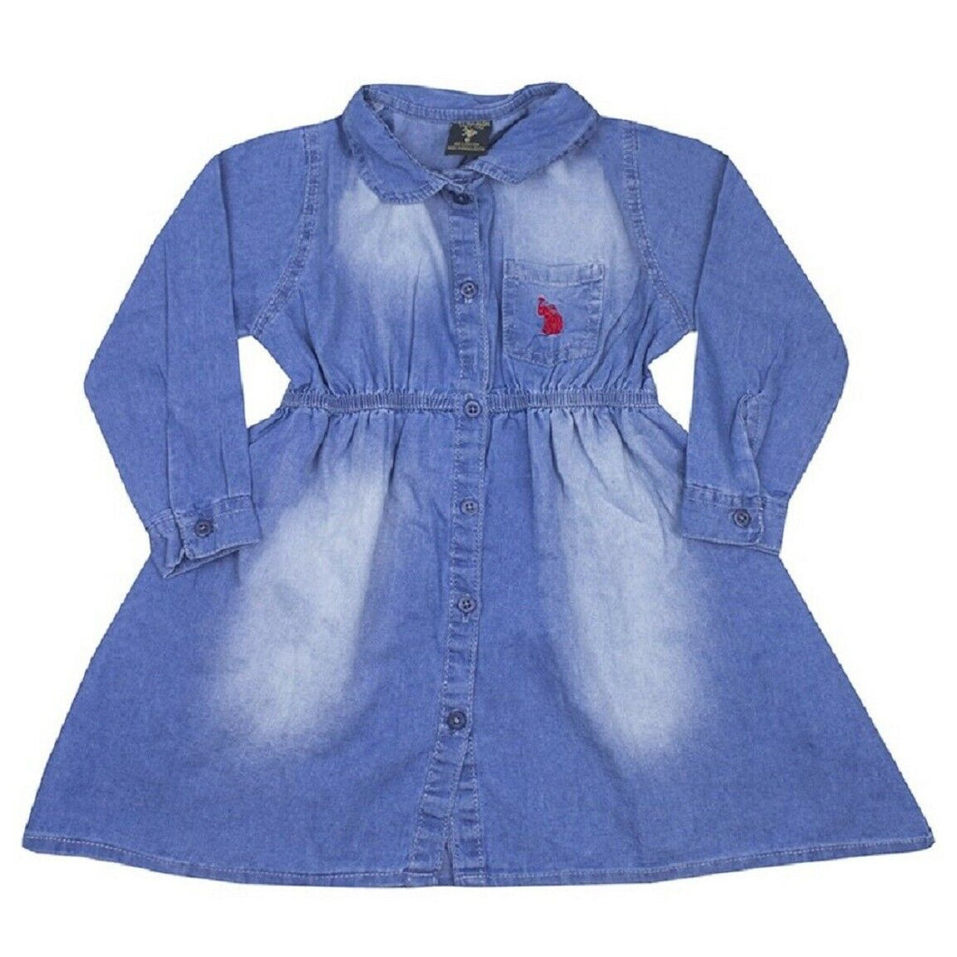Girls Us Polo Blue Denim Button Down Long Sleeve Dress
