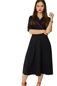 Black Contrast Collar Shortsleeve Skater Dress