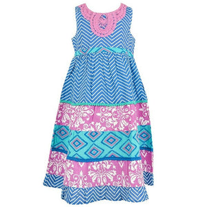 Blue & Pink Multi Zig Zag Sleeveless Dress