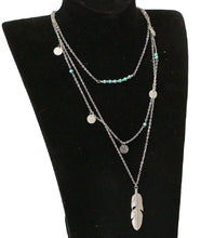 Load image into Gallery viewer, Silver Turquoise Beaded & Circle Feather 3Tier Multilayer Necklace