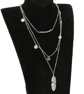 Silver Turquoise Beaded & Circle Feather 3Tier Multilayer Necklace