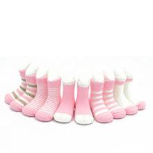 Load image into Gallery viewer, Girls Baby Cute Pink Breathable Printed Cotton 5Pairs Socks
