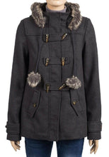 Load image into Gallery viewer, Charcoal Faux Fur Trim Hooded Duffle Coat