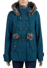 Load image into Gallery viewer, Teal Faux Fur Trim Hooded Duffle Coat