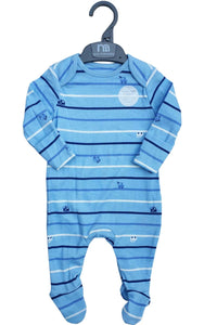 Blue Striped Cotton Non Slip Footie Sleepsuit