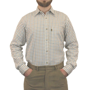 Brown & Navy Game Tattersall Long Sleeve Check Shirt