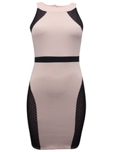 Load image into Gallery viewer, Ladies Nude & Black Panelled Scuba Bodycon Dress