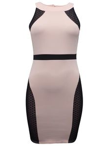 Ladies Nude & Black Panelled Scuba Bodycon Dress